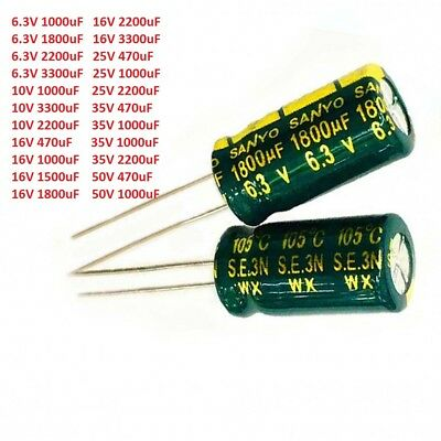 6.3V-50V Sanyo High Frequency LOW ESR Radial Electrolytic Capacitor 470uF-3300uF