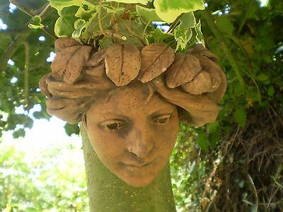 architectural Garden,Vintage French Terracotta Lady Ivy Wall Courtyard Planter