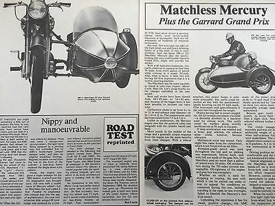 Matchless G3 / Garrard Gp Sidecar - Original 3 Page Classic Motorcycle Article