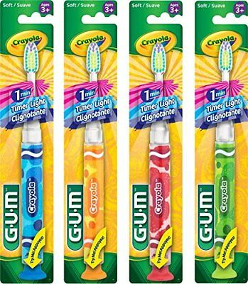 GUM Crayola Timer Light Child Toothbrush Soft 3+ yrs (Assorted Colors)