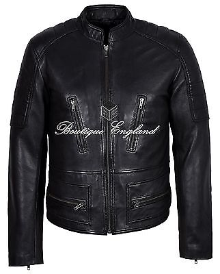 Men's Black Biker Jacket REAL Italian LEATHER Waxed Classic Vintage Style
