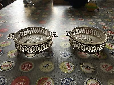 pair of solid silver bon bon dishes