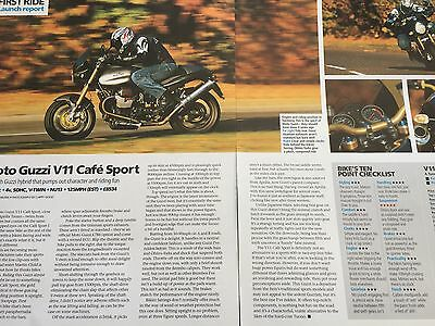 "Moto Guzzi V11 Cafe Sport - Original 2 Page ""first Ride"" Motorcycle Article"