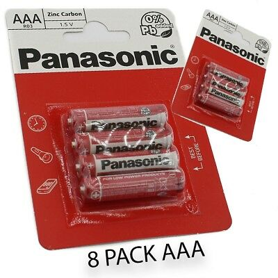 8 PACK AAA Panasonic batteries R03-1.5V zinc Carbon Genuine