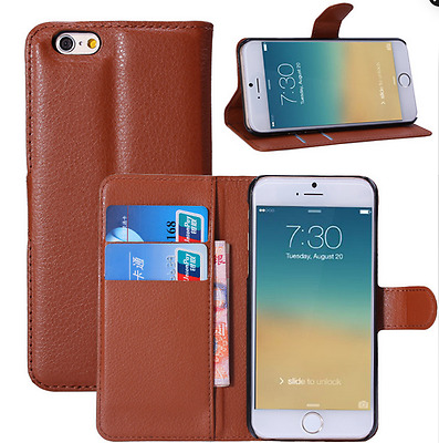 leather flip wallet case stand cover for Apple iPhone 6 with card slot