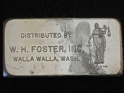 1968 Distributed By W.H Foster, INC Walla Walla 3 oz .999 Fine Silver Art Bar