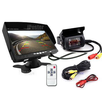 "US stock 7"" Monitor+IR Truck Bus Trailer Backup CCD Camera Waterproof 33Ft Cable"