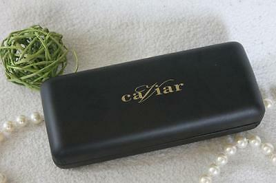 NEW*~CAVIAR~Black Leather CASE~Gold~Clamshell Eye Glasses SUNGLASSES~Unisex~RARE