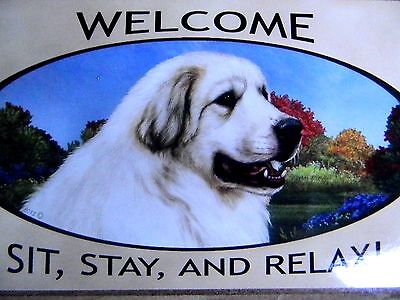 WELCOME GREAT PYRENEES Dog Breed Wood Sign Plaque NEW for Dog Rescue Shelter