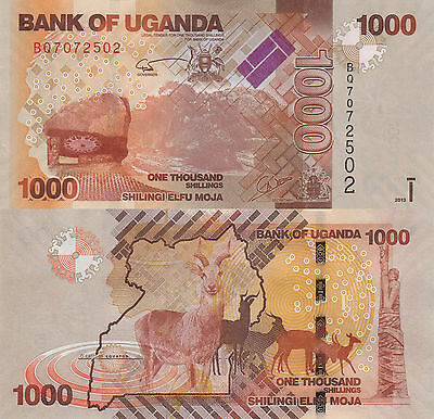 Uganda 1000 Shillings (2013) - Antelope/Coat of Arms/p49b UNC