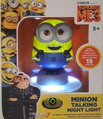 21cm Despicable Me 3 Talking Minion Night Light Bedside Lamp Kids Toys NEW