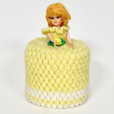 Vintage Crocheted Red-Haired Doll Toilet Paper Cover w/Roll