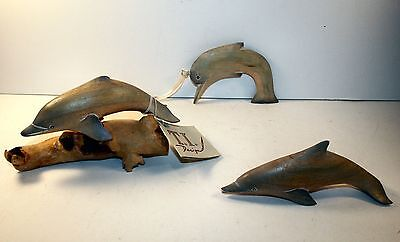 Home Decor Dolphin set of 3 one is on wood branch 1 stands alone 1 is hanging