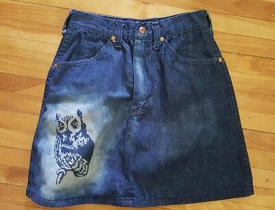 TRUE VINTAGE Maverick Denim Jean Skirt OWL SAND BLASTED Retro Cowgirl Hipster