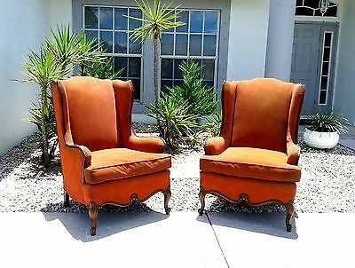 19C Antique Louis XV Wing back Lounge Chairs