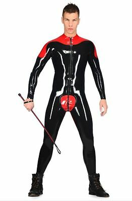 Men's Latex Rubber Rider Catsuit by Libidex M Red with Black Trim