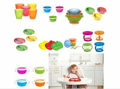 Munchkin Food Weaning Plate Bowl Snack Cup Toddler Feeding Heat Safety Suction