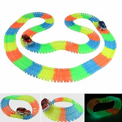 Magic Tracks Bend Flex Glowing in the Dark Assembly Car Toy 240pcs Glow Racing