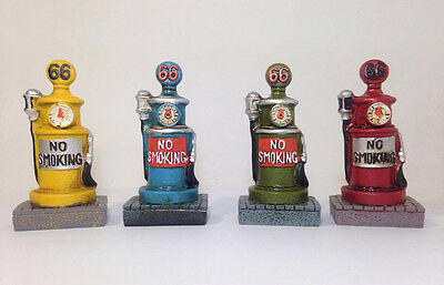 4 Pcs Vintage Style Gas Pump Fuel Clock Ceramic Miniature Home Decor Collectible