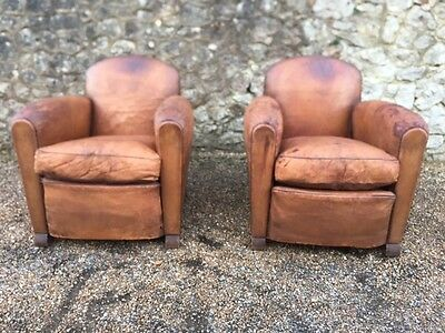 stunning vintage French Art Deco leather club chairs 1930's very rare