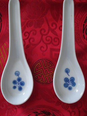2 Chinese Porcelain Spoons White with Blue Berries Cherries Fruit