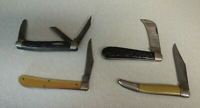 LQQK Lot of 4 VINTAGE POCKET KNIVES - COLONIAL - CRAFTSMAN - GESCO - ULSTER