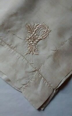 "Vintage Silk Ivory Embroidered Handkerchief Square Scarf Monogrammed ""P"""