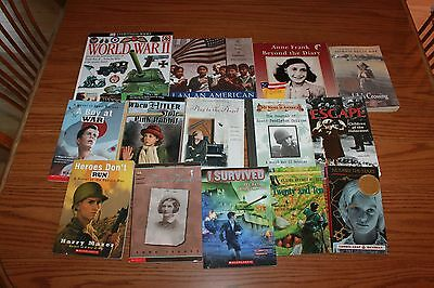14 Holocaust WWII World War Books Lot History Novels Children Frank Nazi Teacher