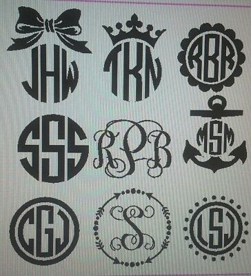 "5"" Initial monogram vinyl decals. Car Decal Size. Free shipping. NEW DESIGNS!"