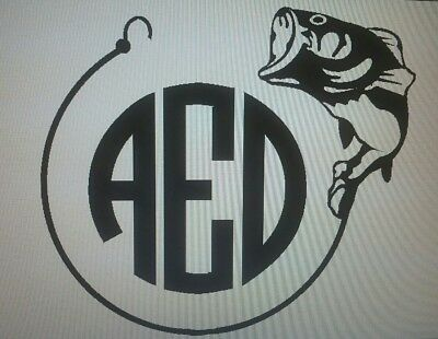 """5"""" Bass Initial monogram vinyl. Car Decal Size. Free shipping"""