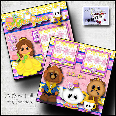 BEAUTY AND THE BEAST  2 premade scrapbook pages paper printed layout ~ BY CHERRY