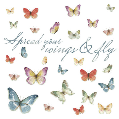 Lisa Audit Butterfly Quote Peel Stick Wall Decals Wall Sticker Painting Supply