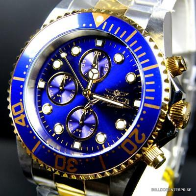 Invicta Pro Diver Chronograph 43mm 2 Tone Gold Plated Steel Blue Watch $695 New