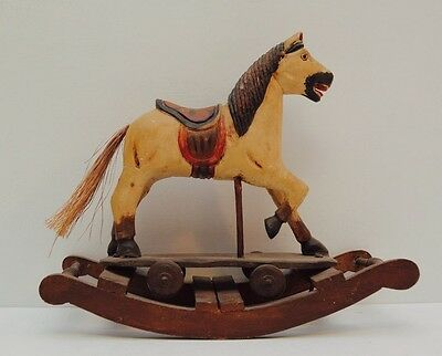 Antique Hand-Carved Wooden Rocking Horse Toy Wheels Red Black Tail Detailed Wood