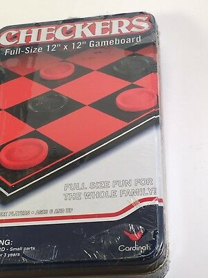 Cardinal Games Checkers, 12 X 12 board Tin Box Game Sealed NEW