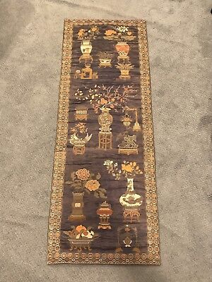Vintage Antique Japanese Wall Hanger Poster Rug Embroidered Stitched Tapestry
