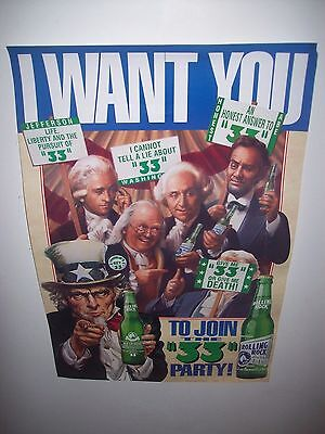 Rolling Rock Beer 1992 Wall Poster I WANT YOU TO JOIN THE 33 PARTY