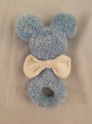 "DISNEY PARKS blue MICKEY MOUSE EARS BABY RATTLE W/ CREAM BOW 6"" plush baby toy"