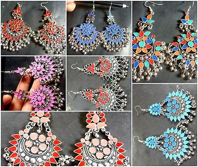 Indian Antique Vintage Silver Plated Multi Bead 9 cm Ring Jhumka Party Earrings