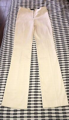 Vtg 90s VERSACE Couture White Raw Silk Super stretchy skinny pants SZ 40IT 28US