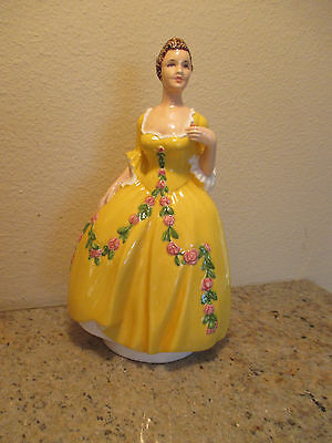 """Lovely Antique Porcelain Figurine """"girl In Yellow Dress"""""""