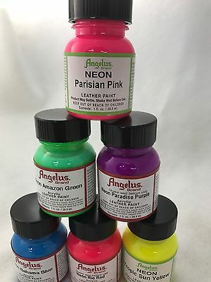 Angelus Acrylic Leather Paint Neon Range 29.5 ml all colours
