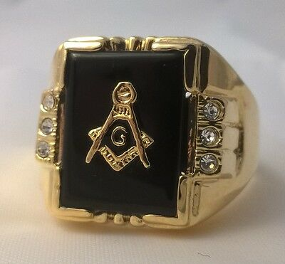 G-Filled Mens 18k gold Freemason simulated diamond black onyx Mason ring Masonic