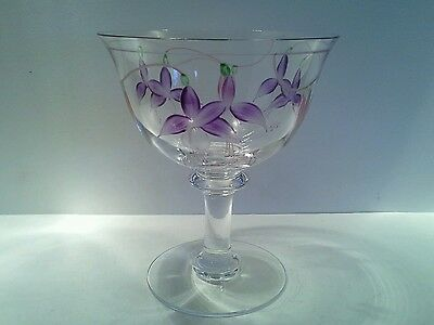 Large Vintage Crystal Compote with Handpainted Fuchsias, Signed.