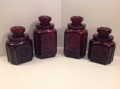 Vintage Lot Of 4 Ruby Red Wheaton NJ Glass Apothecary Bottle Canister