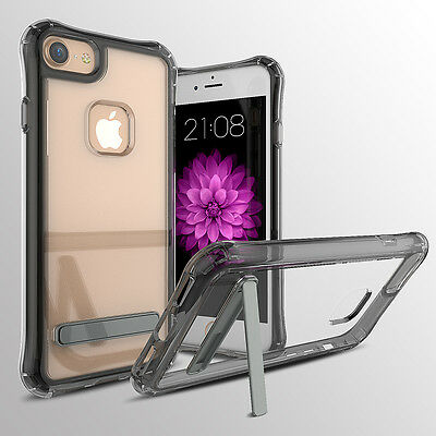 iphone 7 case with metal kickstand and shock protection gel bumper (grey)