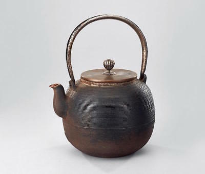 Japanese Iron Teapot 祥云堂 纟with Carved Handle set with Gold & Silver Pattern
