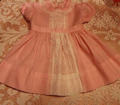 Vintage 50s Girls Pink Checkered and Eyelet Lace Party Dress NOS Dan River
