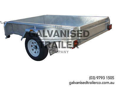 7x4 Single Axle Box Trailer Galvanised With Full Checker Plate & 300mm Sides