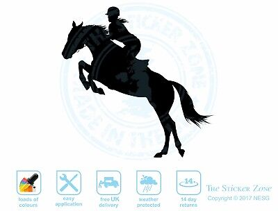 Jumping horse with woman vinyl decal sticker